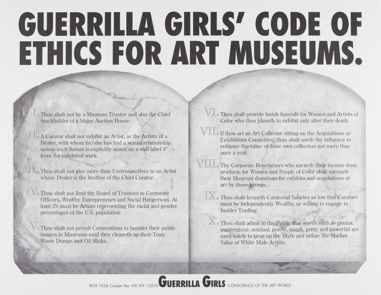Guerilla Girls - code of ethic for art museums