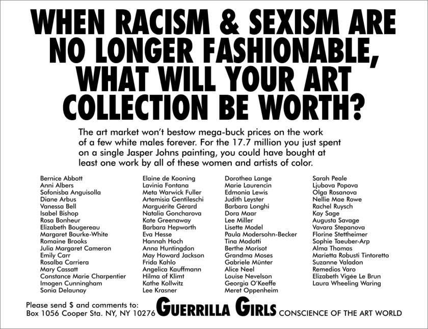 Guerille Girls - Racism and sexism